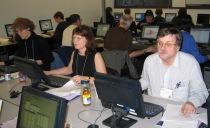 Susan, Elizabeth and Doug are deep in concentration.
