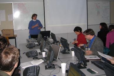 Michelle warns the class to remember the semi-colon.