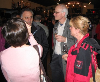 Leah, Walter, Bernie and Marie-Josee debate the quality of the wine.